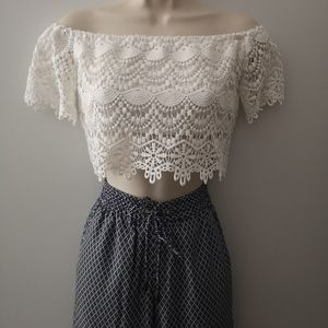 White embroidery lace top